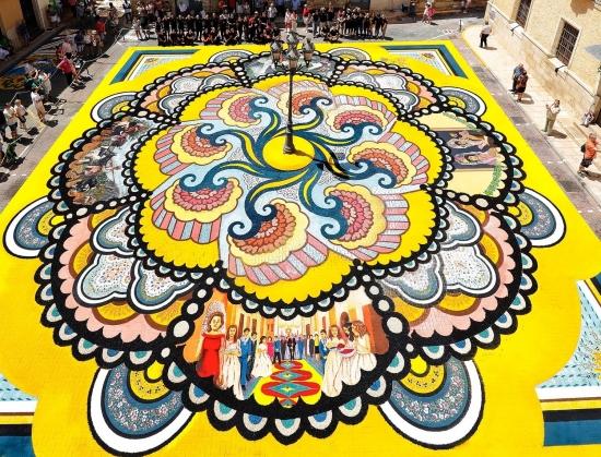 Alfombras del Corpus. Elche de la Sierra.  Declaradas Fiesta de Interés Turístico Nacional y Bien de Interés Cultural alfo