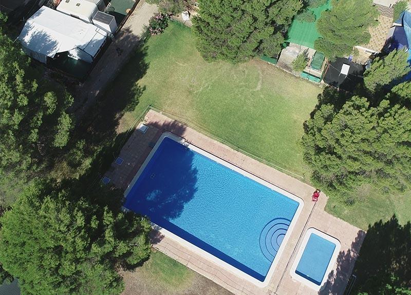 Aldea turística El Cañar  aerea piscina